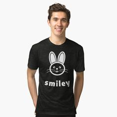 T-shirt chiné 'LOONA - Choerry 08 - white' par haxamis Funny Bunnies, Smiley, Buy Now, People, T Shirt, Tees, Rabbit, Mens Tops, Boutique