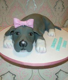Pit bull puppy Puppy Birthday Cakes, Birthday Cake Girls, Pit Bull, Puppy Dog Cakes, Fondant Dog, Friends Cake, Lego Friends, Chicken Cake, Foundant