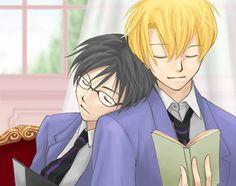 Tamaki and Kyoya Keep Company, Ouran Host Club, Ouran Highschool, High School Host Club, Another Anime, Gay Couple, Anime Ships, Fan Art, Manga
