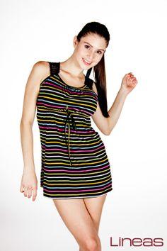 Vestido. Modelo 17464. Precio $150 MXN #Lineas #outfit #moda #tendencia #2014 #ropa #prendas #estilo #outfit #primavera #vestido