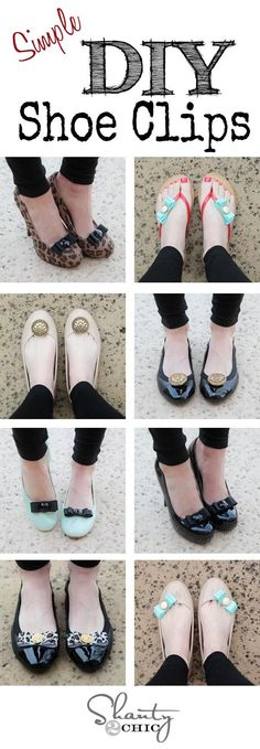 DIY Shoes Refashion: DIY Shoe Clips! Genius idea to jazz up those plain shoes!