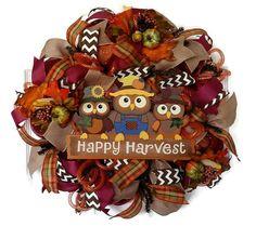 Fall Mesh Wreath, Owl Wreath, Harvest Wreath, Fall Deco Mesh Wreath, Fall Outdoor Wreath, Fall Door Wreaths, Wreaths for Fall, Autumn Door for $78.00 by Kayla's Kreations      www.kaylaskreationstx.etsy.com