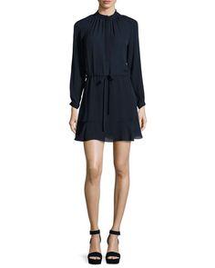 TD0Q5 Rebecca Taylor Long-Sleeve Georgette Shirtdress, Navy