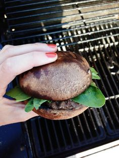 Using a portabella mushroom as my burger bun.  I seasoned and grilled the mushroom, which softened it up a bit and made it extra juicy and delicious!  This is my new favorite, low carb way to enjoy a burger.  Have you tried this before?