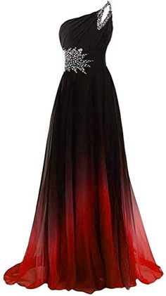 AINNIE Women's One Shoulder Beadings Chiffon Bridesmaid Long Prom Dresses Gradient&Red Pretty Prom Dresses, Ball Dresses, Beautiful Dresses, Nice Dresses, Dress Prom, Bridesmaid Dresses, Long Party Gowns, One Shoulder Prom Dress, Prom Outfits
