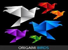 Many different styles (and difficulty levels) of origami birds. For the bird mobile?