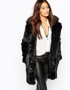 Missguided+Faux+Fur+Longline+Coat