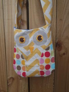 Yellow Cheveron Owl Bag