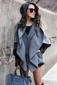 Silver Riding Hood :: Cape jacket & Lace-Up Boot :: Outfit ::  Top :: Milly cape , Marissa Webb lace top Bottom :: Line & Dot  Bag :: Rebecca Minkoff Shoes :: Chloe  Accessories :: Karen Walker sunglasses Published: December 16, 2016