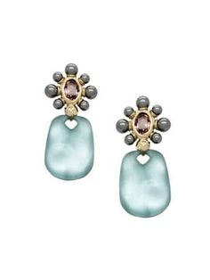 Alexis Bittar Future Antiquity Yellow Goldplated, Morganite Crystal & Imitation Mother-of-pearl Drop Earrings Shop Alexis, Pearl Drop Earrings, Alexis Bittar, Luxury Branding, Women Accessories, Pearls, Future, Crystals, Yellow