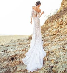 Items similar to Romantic Bohemian Wedding Dress in French Lace with Off-the-Shoulder Crop Top, Keyhole Tie Back, and Cascading Chiffon Train - Lennox Dress on Etsy Romantic Bohemian Wedding Dresses, Indie Wedding Dress, Wedding Dress With Veil, Luxury Wedding Dress, Dream Wedding, Bridal Tops, Long Sleeve Wedding, Boho Dress, Dress Beach