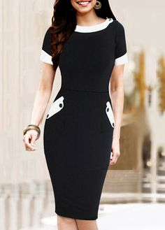 OL Style Short Sleeve Round Neck Black Bodycon Dress | Rosewe.com