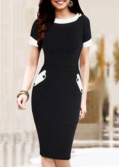 Style Short Sleeve Round Neck Black Bodycon Dress
