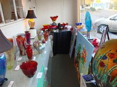 Art Glass by Joseph Morel, Nourot Studio, David Lindsay, Opal by Johnny Camp, Glass Classes and works by Phil Teefy of Rainbow  and works by Pam Sutton.