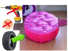 DIY Creative Ways to Reuse / Recycle .Trash to treasure.Tyre ottoman. - YouTube