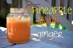 1/4 pineapple  4 medium carrots  1 medium mango  1- 2 inch knob ginger