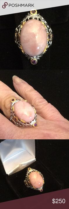 Exquisite Genuine Pink Opal Ring ! Genuine top quality genuine Peruvian pink opal ring with genuine Rhodolite garments. Crafted in .925 & genuine 14 K gold overlay. The ring has a beautiful reticulated gallery.  Very unique one of a kind,  super high quality setting & genuine gemstones 8 Jewelry Rings
