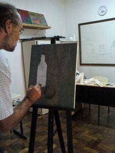 Sr. João pintura com as cores primárias e branco de observação