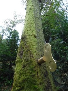 'the clockwork forest', a public installation located in grizedale, england.  the piece is comprised of a series of turnkeys affixed to various trees within the wooded area. as one is wound-up,   music begins to play, as if the user has brought to life an additional layer of sound organically existing in the natural environment.   'the forest is often the mysterious location of secret stories, of distant sounds from hidden camp fires, of secret meetings and unexplained sounds.'  -greyworld