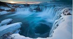 Frozen Godafoss, Iceland
