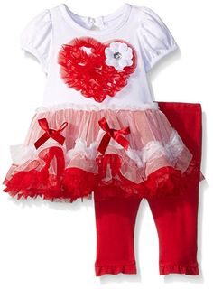 Nannette Little Girls Heart Dress and Legging Set, White, 0-3 Months