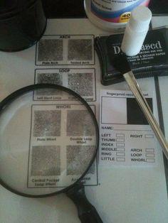 Secret Agent/Spy Birthday Party finger printing class activity