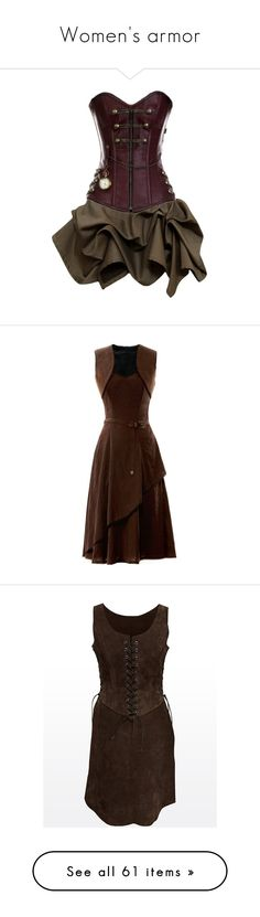 """Women's armor"" by smalls1776 ❤ liked on Polyvore featuring VictordonWarriors, dresses, steampunk, vestidos, short dresses, steam punk dress, brown dress, steampunk dress, mini dress and medieval"