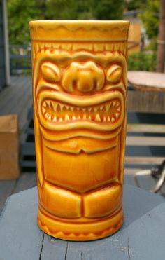 Orange Orchid~Orchid of Hawaii~Orange~Ceramic~Cup~Luau~Tiki~Vintage~Japan~B8