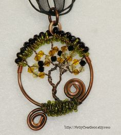 ✿ Inspiration ✿ ∙∙∙  Tree of Life.  Hand Made Tree of Life Pendant Wire Wrapped Copper with a Bird OOAK - T12 via Etsy