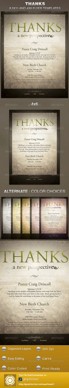 The Thanks-A New Perspective Church Flyer Template is sold exclusively on graphicriver, it can be used for your Church Events, Gospel Concert etc, or for any other marketing projects. The file includes 2 High Resolution Flyers with several color options for easy editing. $6.00