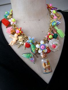 Vintage Toy Necklace Flower Necklace Statement by rebecca3030,