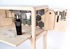 This high-end, handmade liquor cabinet, designed by New Zealand designer Ian Rouse, takes a bar cabinet to a whole new level with its solid craftsmanship. Dream Furniture, Design Furniture, Diy Furniture, Design Innovation, Wine Cabinets, Wood Design, Storage Shelves, Industrial Design, Decoration