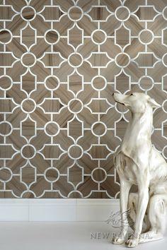 New Ravenna - Chatham 3 Stone Waterjet Mosaic in Driftwood and Calacatta Tia honed