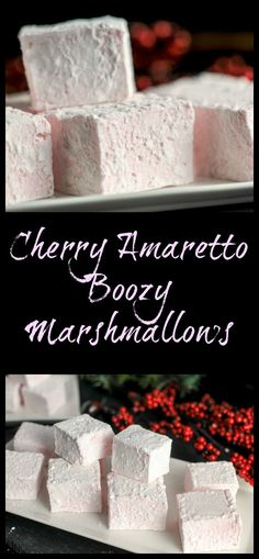 Cherry Amaretto Boozy Marshmallows - Dessert, recipe, alcohol, cherry liqueur, t. Brownie Desserts, Oreo Dessert, Mini Desserts, Grill Dessert, Coconut Dessert, Just Desserts, Delicious Desserts, Desserts With Alcohol, Winter Desserts