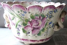 Roger Colas Polychrome Pink Cabbage Rose ''Clamecy Peigne?'' Pattern Cache Pot 4''H x 7''D ClamecyFR