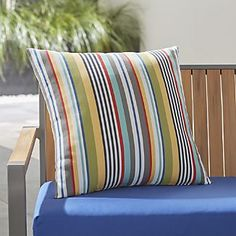 """Sailing Striped 20"""" Sq. Outdoor Pillow"""