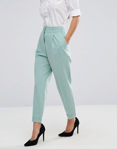 ASOS Petite   ASOS PETITE Tailored High Waisted Pants with Turn Up Detail