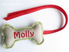 Dog Personalized Christmas Stocking Tag Embroidered Label Gift Name Monogram Ornament Green and Red by RedDoorHome on Etsy https://www.etsy.com/listing/173916023/dog-personalized-christmas-stocking-tag