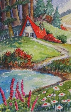 "Daily Paintworks - ""A Bright Afternoon Storybook Cottage Series"" - Original Fine Art for Sale - © Alida Akers"