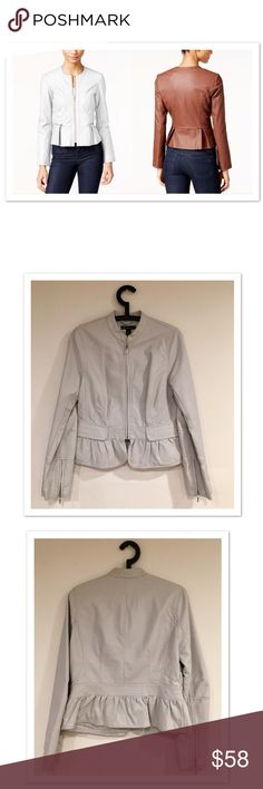 """International Concepts Vegan Leather Peplum Jacket Vegan Leather Peplum Jacket by International Concepts. Excellent condition!! Two front functional pockets and zip sleeves. Literally worn once for a short time. Small blemish that might be removable (see pics). Not noticeable at all when worn. Sleeves measure approx 25"""" in length. Across Underarms is approx 17.5"""". INC International Concepts Jackets & Coats"""