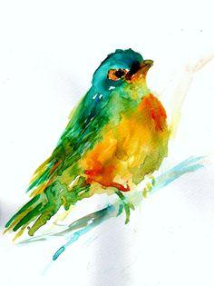 ORIGINAL Watercolor Painting Titled Spring Bird by JessBuhmanArt, $40.00