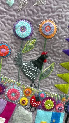 close up, Round the Garden quilt workshop with Wendy Williams as seen at KimzSewing. Wool applique. by patrice