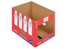 Regalsteige für Sojamilch • Stabile Regalsteige • Flexobedruckt • Mit ausgestanzten Haltegriffen •  #Lebensmittelverpackung, #T4P, #Mopro Magazine Rack, Container, Storage, Furniture, Home Decor, Food Packaging, Soy Milk, Shelf, Products