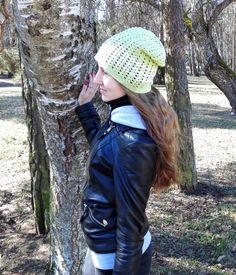 Green slouchy cotton springhat for women surf hat by MadeByKirsti