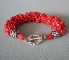Red Coral Bracelet...Cluster Bracelet...Chunky Handmade Bracelet.... like the seed beads with nuggets