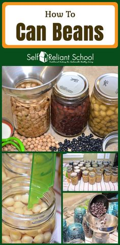 Step by step directions for canning dry beans. Although the procedure is the same for all dry beans, I use black beans and garbanzo beans as an example. #beselfreliant via @sreliantschool#ad