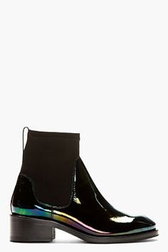iridescent | mother-of-pearl | gleaming | shimmering | metallic rainbow | shine | anodized | holographic | oil slick | peacock | iridescence | Acne Studios Black Patent Leather Oil Slick Chelsea Boots for women | SSENSE