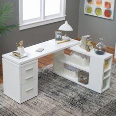 Hudson L-Shaped Desk – White – Executive Home Office Design L Shaped Office Desk, White Desk Office, Cool Office Desk, White Desks, Home Office Space, Home Office Desks, Office Decor, Office Ideas, White L Shaped Desk
