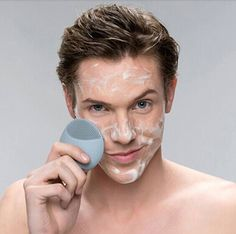 Men Mini Silicone Electric Facial Cleansing - Rechargeable Face Cleaning Brush