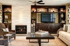 off center fireplace - Google Search                                                                                                                                                      More